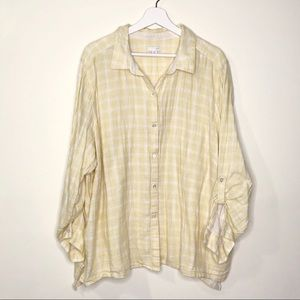 J Jill | Yellow Cotton Long Sleeve Flannel
